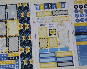 DAFFODILS Personal Planner Sticker Set   6 hole punched   perfect for SMC WO2P inserts   P51