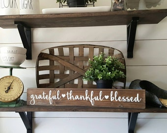 Grateful. Thankful.Blessed wood sign. Rustic wood sign. Gallery wall. Fall Decor.