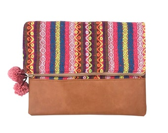 Handmade Hmong Thai Tribal Cotton And Faux Leather Clutch/Purse Bag