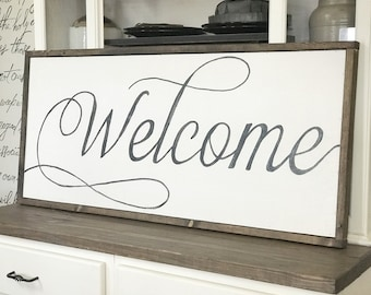 """Welcome Sign, 20"""" x 44"""" Wood Framed Sign, Wall Quotes, Framed Quotes, Framed Sayings, Inspiring Wall Art, Framed Wall Art"""