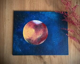 Original Painting. Mars. Planet.