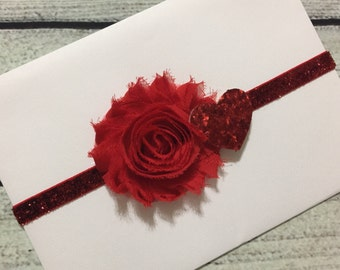 Valentines day Headband ,Red Baby Headband , Infant Headband ,Red Shabby Headband, Red Headband ,Newborn Headband , Red Glitters Headband