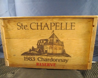 Very Rare Vintage 1983 Ste. Chapelle Chardonay Reserve Original Wine Crate. Product of Caldwell Idaho. Free Shipping.