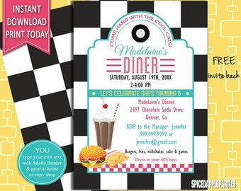Retro Diner Birthday Invitation, 50s Retro Diner Invite, 50s Party Invitation, 50s Party Invite, 50s Theme Party, 50s Diner Theme,