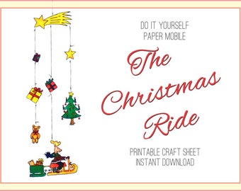Christmas Mobile Craft Sheet, DIY Paper Mobile Download, Craft Sheet Reindeer Mobile, Décor, Christmas Decoration DIY