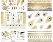 75+ Metallic Tattoos Gold Silver Shimmer Temporary Fake Jewelry Designs Tribal Dreamcatcher Arrows Feathers (Delila)