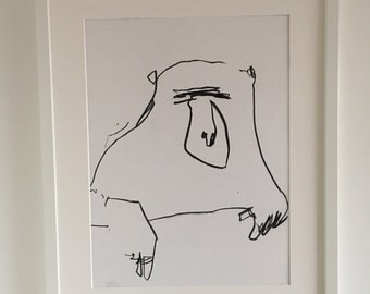 Original charcoal drawing of an abstract baboon by Adam Slatter