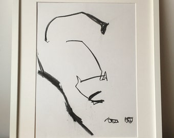 Original drawing of an abstract Cat Stretching
