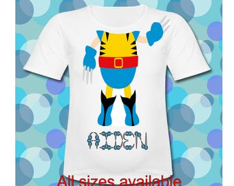 Personalized Wolverine T Shirt All Sizes available Kid Wolverine body T Shirt Birthday Shirt