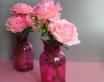 A   Pair of pink vases   with peony pink flowers and a pink rose