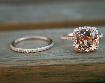 Cushion Morganite Ring,Halo Diamond Rose Gold Morganite Engagement Ring, Rose Gold Morganite Ring, Engagement Ring, Morganite