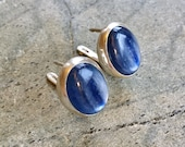 Kyanite Earrings Blue Kyanite Natural Kyanite Blue Earrings Large Stone Earrings African Kyanite Vintage Earrings 925 Silver Kyanite