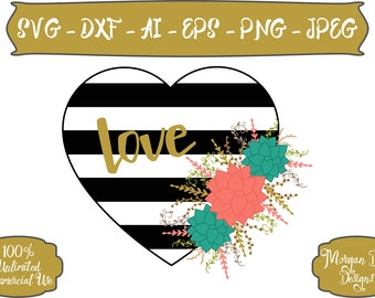 Love SVG - Wedding SVG - Striped Black and White Heart svg - Floral svg - Heart svg - Files for Silhouette Studio/Cricut Design Space