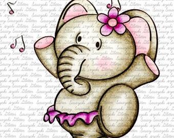 Elly The Elephant Dancing  Digital Stamp by Sasayaki Glitter