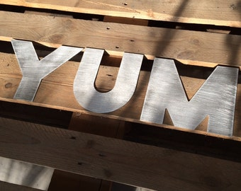 Industrial look Wall Sign YUM WC other metal leters wall sign kitchen sign - custom word metal letter wall sign for kitchen bar restaurant