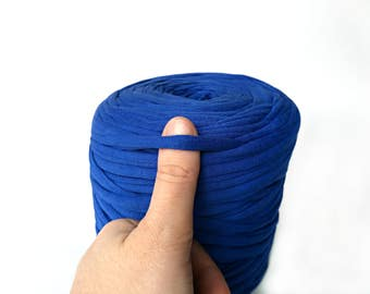 Royal blue jersey T-shirt yarn, recycled t shirt yarn, tshirt yarn, recycled cotton yarn, jersey yarn, fabric yarn, yarn carpet, bulk yarn
