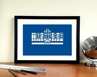 """Portsmouth FC A3 Minimalist Graphic Design Art Print - Fratton Park """"Pompey Pavilion"""""""