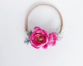 BRIGHT PINK petite flower crown, baby flower crown, flower crown headband