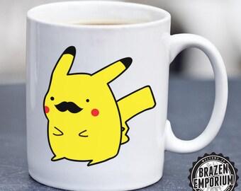 Pikachu Mustache Mug, Pokemon Mug, Pikachu Mug, Funny Coffee - Tea Mug