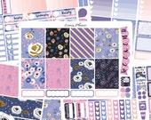 Purple Florals Weekly Set or Singles (matte planner sticker, fits perfect in Erin Condren Life Planner Vertical)