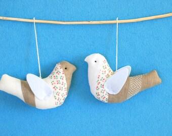 Birds set, fabric birds, linen hanging birds, birds set, bird favors, white birds, brown birds, stuffed  bird, garden theme