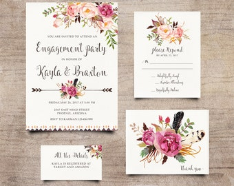 Boho Engagment Invite, Bohemian Invitation, Rustic RSVP Card, Peony Invitation, Calligraphy Invite, Hand-Painted Invite, Boho Chic Invites