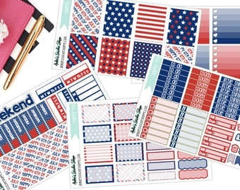 Happy 4th Fourth of July Weekly Kit for ECLP Vertical Planner Stickers