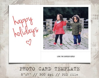 Photo card Template, Happy Holidays, 5x7, Modern Holiday card template, printable, PSD Photographer Template, Spring, Post Card, Blog