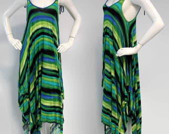 Gorgeous Spaghetti Maxi Dress, Asymmetrical Dress, Hi Lo Dress, Sleeveless Dress, Adjustable Spaghetti Straps, *Last Piece (Size L)*