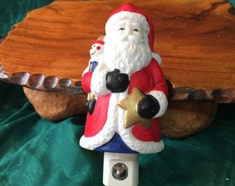 Vintage Santa Night Light, Bathroom Light, Holiday Decour, Santa Toys