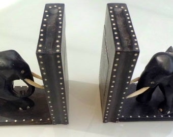 Ebony Elephant Book Ends with Secret Compartment