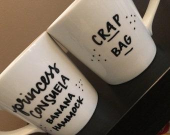 Mr. and Mrs. mugs- His and Hers- Custom wedding gift- Hubby and Wifey mugs- f.r.i.e.n.d.s- princess consuela banana hammock- crap bag- funny