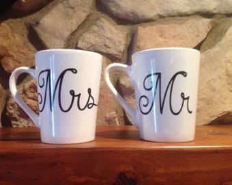 Coffee Cups/Mugs, Wedding, Mr and Mrs