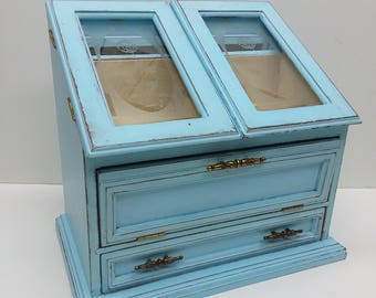 Large Rustic Shabby Chic Vintage Jewelry Box Painted and Distressed