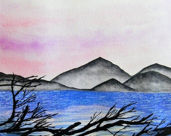 Original Watercolor Painting - Nature Painting - Mountains and reflections - Prints Available