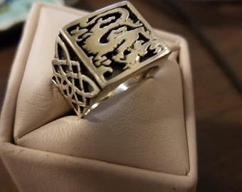 Vintage Sterling Silver Dragon Gents Ring Size 12