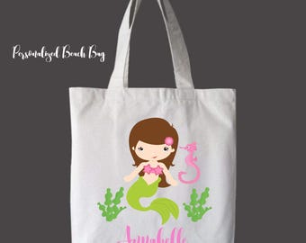 Brunette Hair Personalized Girls Tote Bag Overnight Bag Beach Bag