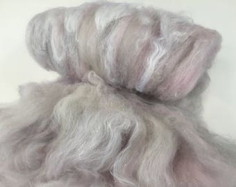 Lavender and Grey Merino and Silk Textured  Art Batt for Spinning and Felting