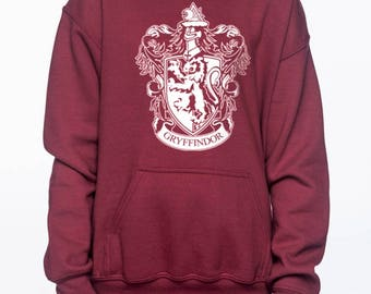 Gryffin Crest #1 White printed on maroon YOUTH / KIDS Hoodie