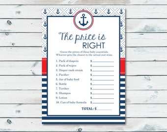 Nautical Price Is Right Game, Baby Price Game, The Price Is Right Printable, Nautical Baby Shower Game