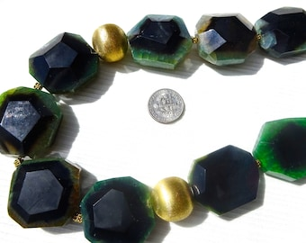 "Stylish Heavy Huge Rare Faceted Square Green Dragon Veins Agate Statement 20"" Necklace"