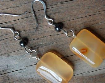 Sterling Silver Genuine Citrine with Hematite Drop Earrings