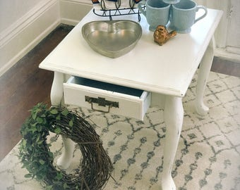 White cottage Farmhouse occasional end table  french country with drawer and antique drawer pull