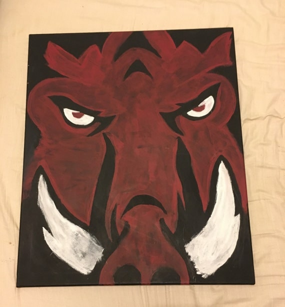 Razorback painting on 24 by 20 inch canvas