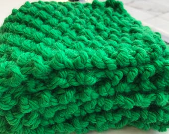 Green Moss Stitch scarf