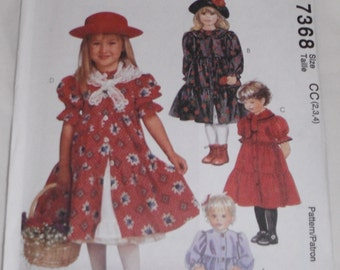 McCall's Uncut Pattern 7368 Toddlers' Dress Petticoat and Scarf Size CC (2,3,4)