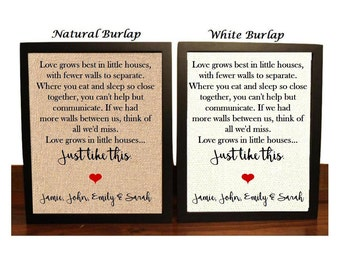 Love grows best in little houses | Love and Home | Love grows best sign | Love grows best in little houses burlap print | Family Love