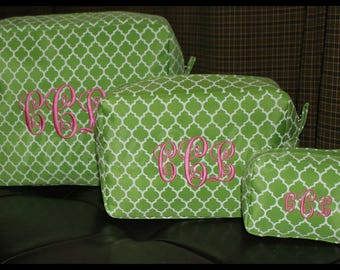 Monogrammed Makeup Bag Set, Customized Toiletry Bag Set, Personalized Cosmetic Bag Set, Embroidered Makeup Bag Set, Custom Cosmetic Bag Set