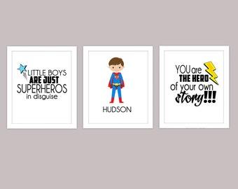 Little Boy Superhero Wall Art, Boy Superhero Quote, Custom Boy Superhero Wall Art, 8x10 Trio Print