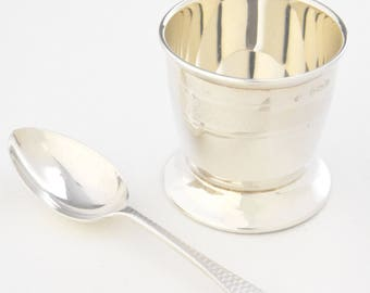 Solid Silver Egg Cup and Spoon Set 1926